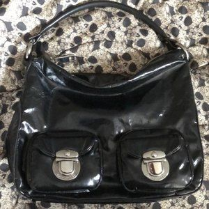 🔥Marc Jacobs Black Patent Leather Hobo Bag Purse